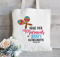 Bachelorette Tote Bag, Bachelorette Party Tote, Mexico Bachelorette, Wedding Favor, Maracas