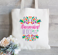 Bienvenidos Mexico Bachelorette Tote Bag, Mexico Wedding Tote,  Bachelorette Tote Bachelorette Favor Bag
