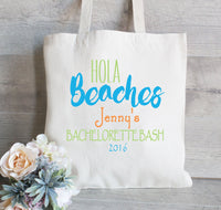 Hola Beaches, Bachelorette Tote Bag, Mexico Bachelorette Party, Gift bags for wedding, Bridesmaid Gift Tote