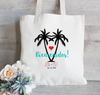 Wedding Welcome Tote Bags, Bienvenidos Destination Wedding Favor, Hotel Guest Bag, Bridal Party Tote Bags, Guest Bags