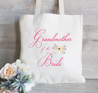 Grandmother of the Bride, Grandmother of the Groom, Wedding Welcome Tote Bag, Personalized Tote