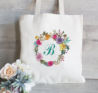 Bridesmaid Tote Bag, Personalized Bridesmaid Gift Tote Bag, Floral Bridesmaid Tote, Gifts for Bridesmaid, Flower Girl Tote, Wedding Favors