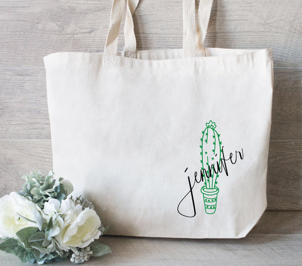 Bridesmaid Cactus Tote Bag, Bridesmaid Tote Bag, Wedding Tote Bag, Personalized Tote, Canvas Bags for Wedding, Cactus