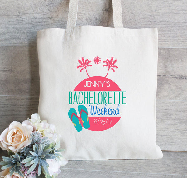 Wedding Tote Palm Tree Bachelorette Tote Bag, Flip Flops, Bridesmaid Tote Bag, Bridal Party Tote, Wedding Welcome Bag, Hotel Bag