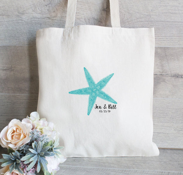 Tote Bag with Starfish, Hotel Guest bags with Starfish, Wedding Welcome Tote