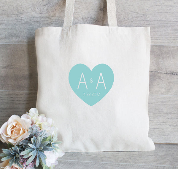 Wedding Welcome Bag with Heart, Monogram Tote Bag, Hotel Guest Totes
