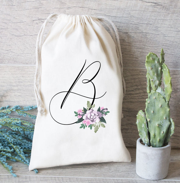 Initial Gift Bag, Bachelorette Party,  Purple Flowers with Initial, Hangover Kit bag, Drawstring Favor Bags, Personalized Bridesmaid gift