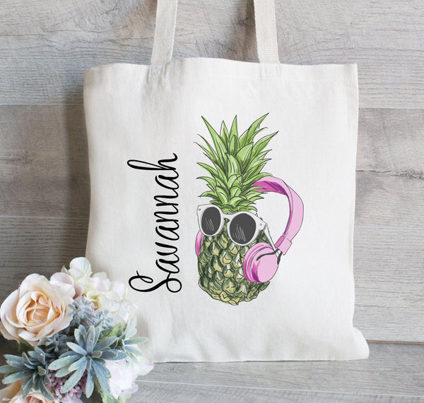 Bachelorette Party Tote,Personalized Pineapple Tote, Pineapple Tote Bag, Hawaii Bachelorette Party, Girl Pineapple Tote, Headphones