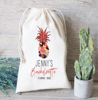 Hangover kit Bag, Pineapple Theme Bachelorette Party Favor, Personalize Drawstring Bag, Hangovers only last a day