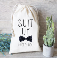 Suit Up Bachelor Hangover Kit, Groomsman Gift Bag, Hangover Kit, Drawstring Favor Bag for Wedding Party