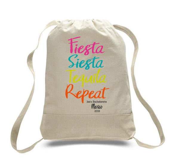 Personalized Mexico Favors, Mexico  Bachelorette Party, Fiesta Siesta Tequila Repeat, Mexico Wedding, Backpack for Bachelorette