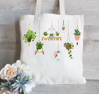 Plant Lover Tote Bag, Reusable Tote Bag, Grocery Bag, Canvas Tote Bag, Personalized Tote Bag, Hanging Plants