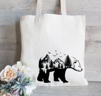 Bear Forest tote bag, Camping lover tote, Reusable Tote Bag, Grocery Bag, Canvas Tote Bag, Personalized Tote Bag, Hanging Plants