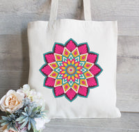 Om Tote Bag, Mandala Tote, Reusable Tote Bag, Grocery Bag, Canvas Tote Bag, Personalized Tote Bag, Hanging Plants