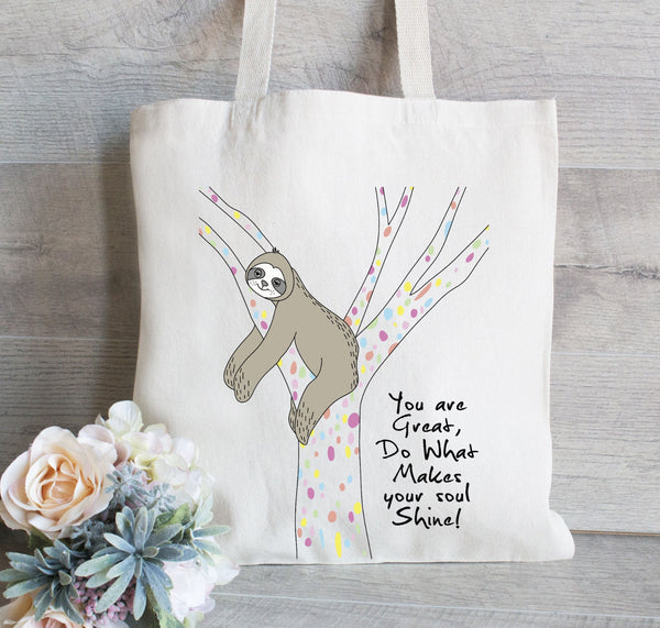 Sloth Tote Bag, Book bag, Reusable Tote Bag, Grocery Bag, Canvas Tote Bag, Personalized Tote Bag, Hanging Plants