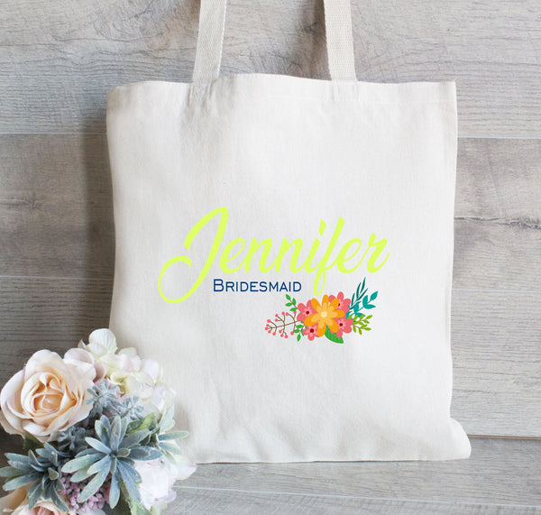 Chartreuse Bridesmaid Gift Bag, Gift for Bridesmaid, Tote Bag for Wedding Party, Flower Girl Tote Bag, Bachelorette Tote bag