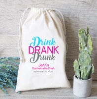 Drink Drank Drunk Hangover Kit Bachelorette Party Hangover Kit- Heavy Weight Cotton Canvas Double Drawstring Mini Favor Bags