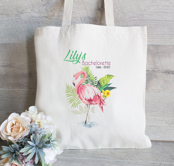 Flamingo Bachelorette Tote Bag, Bachelorette Bash, Girls Weekend Tote Bag, Beach Tote, Tropical Leaves, Party Totes