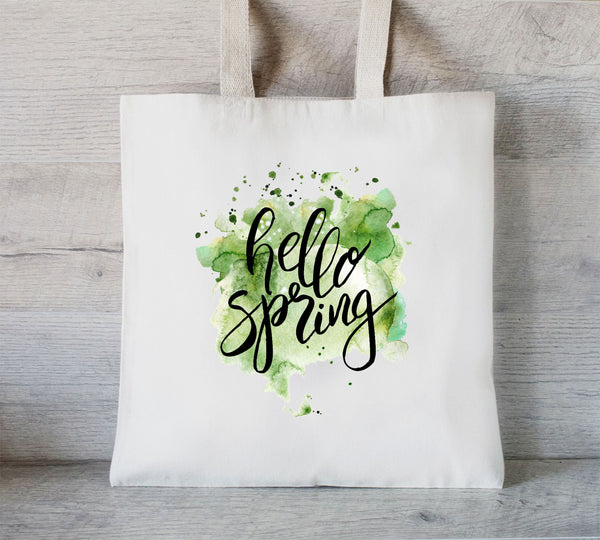 Hello Spring Tote Bag, Grocery Tote, Mother's Day Gift, Spring Bag, Library Tote Bag, Gifts for Her