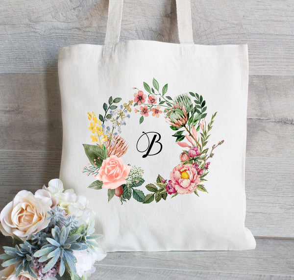 Wedding Tote Bag, Floral Wreath with Name, Custom Wedding Tote Bag, Bridesmaid Bag,  Flower Girl  gift, Monogram Tote Bag