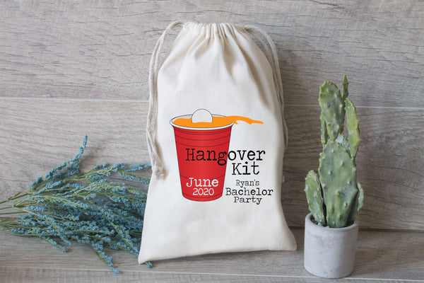 Bachelor Party Hangover Kit, Pong Cup Hangover Kit, Drawstring Favor Bag, Bach Bash, Solo Cup Beer Pong