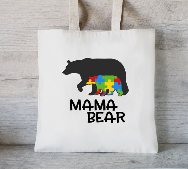 Autism Tote Bag, Mama Bear Autism, Library tote bag, Bag for her, Gift for Mom, Special Needs Tote
