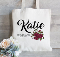 Bridesmaid Gift Tote Bag, Burgundy Flowers, Wedding Tote Bag,Personalized tote bag,  Bridal Party Gift and Favors, Canvas Tote