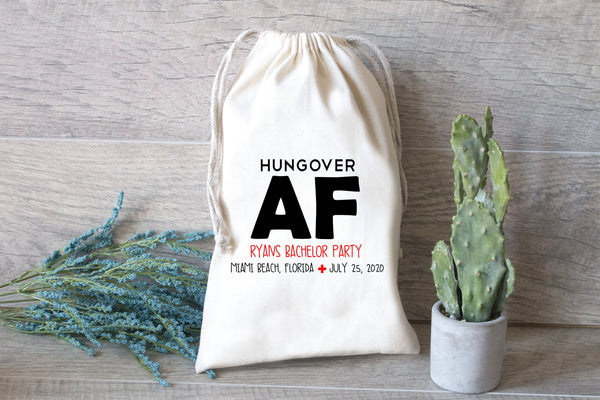 Hungover AF Hangover Kit Bags, Party Hangover Kit, Oh Shit Kit, Favor Bag, Bachelorette Party Gift Bags