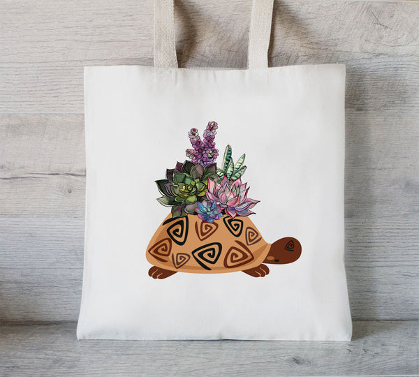 Succulent and Turtle Tote Bag