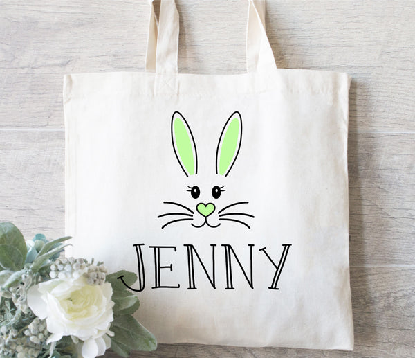Personalized Easter Tote Bag, Personalized Easter Bag, Vintage Easter, Personalized Easter Basket, Easter Face Bag, Easter Bunny