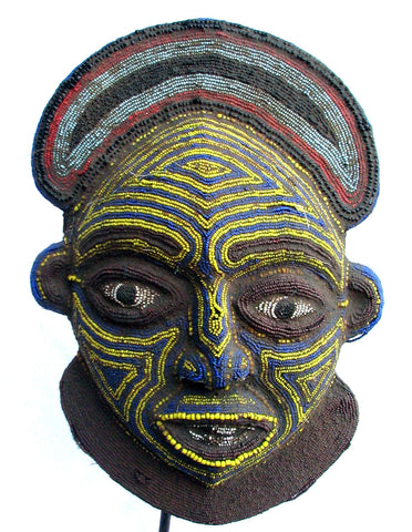 Bamileke Beaded Mask (blue & yellow)