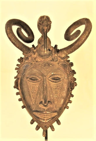 Senufo Bronze Mask with Bird