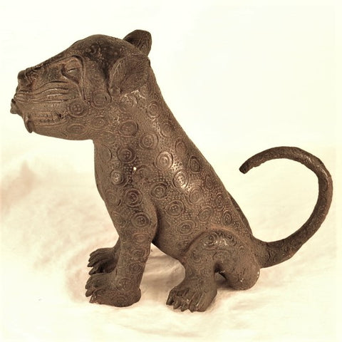 Seated Benin Bronze Leopard