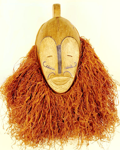 Fang Ngil Mask of Blue Scars and Vibrant Raffia