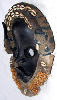 Dan Bagle Mask with Cowries and Horns
