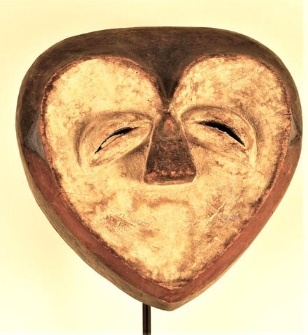 Mysterious Heart Shaped  Kwele Mask