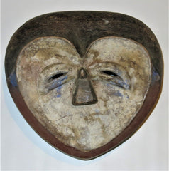 Wise Heart Shaped Kwele Mask with Blue Tones