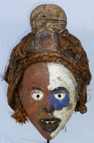 Yombe Ceremonial Mask with Blue Patch