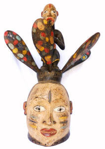 "Rare Yoruba Mask with 6 Removable ""Petals"""