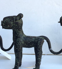 Small Benin Bronze Leopard greenish Tail Down