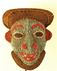 Blue and Red Bamileke Beaded Mask
