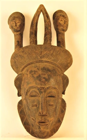 Baule Mask with Horns and Ancestor Portraits