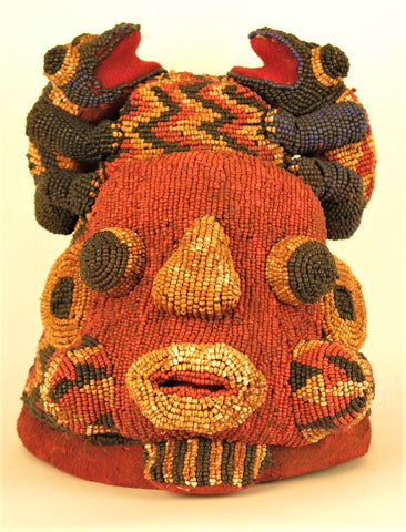 Bamelike Beaded Headdress with Two Frogs