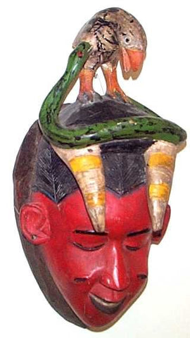 Baule Red Mamiwata Mask with Bird and Snake