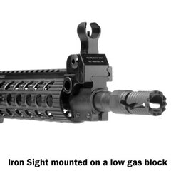 Troy AR 15 Iron Sight mounted on a low gas block