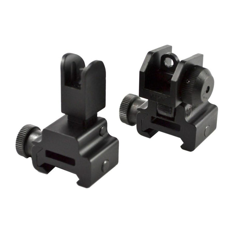 Backup Iron Sights - AT3 Tactical Flip Up Backup Iron Sights (BUIS) - Front & Rear Set - Same Plane Or Gas Block Height