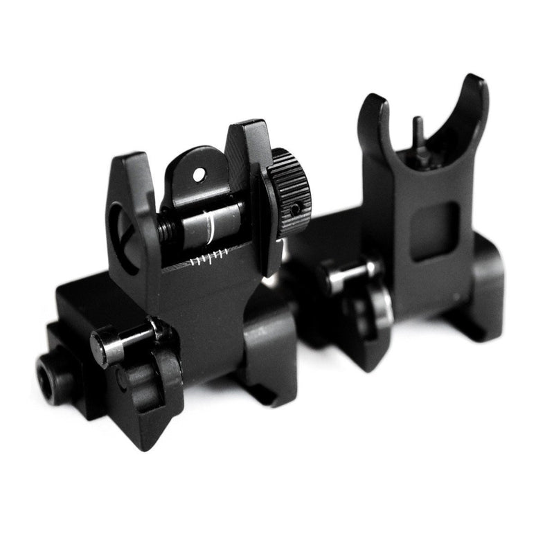 Backup Iron Sights - AT3 Tactical Pro Series Flip-Up Backup Iron Sights (BUIS) - Front & Rear Set - Same Plane - IS-09