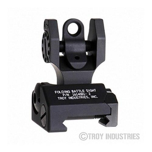 Backup Iron Sights - Troy Rear Battle Sight Black - Folding - Optional Tritium Illumination