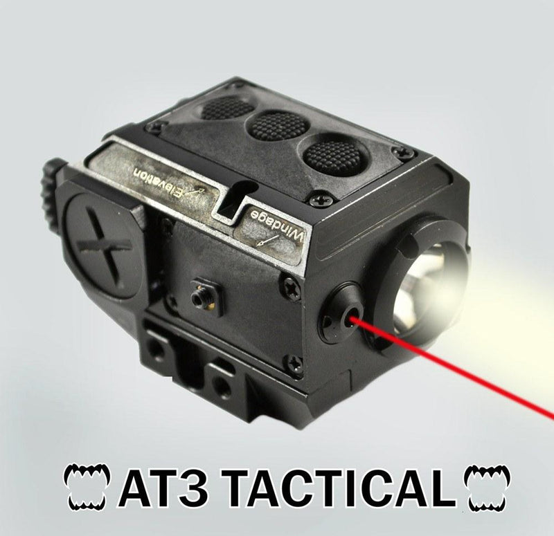 Lights & Lasers - AT3 Tactical Red Laser Light Combo With LED Strobe Flashlight LL-02R