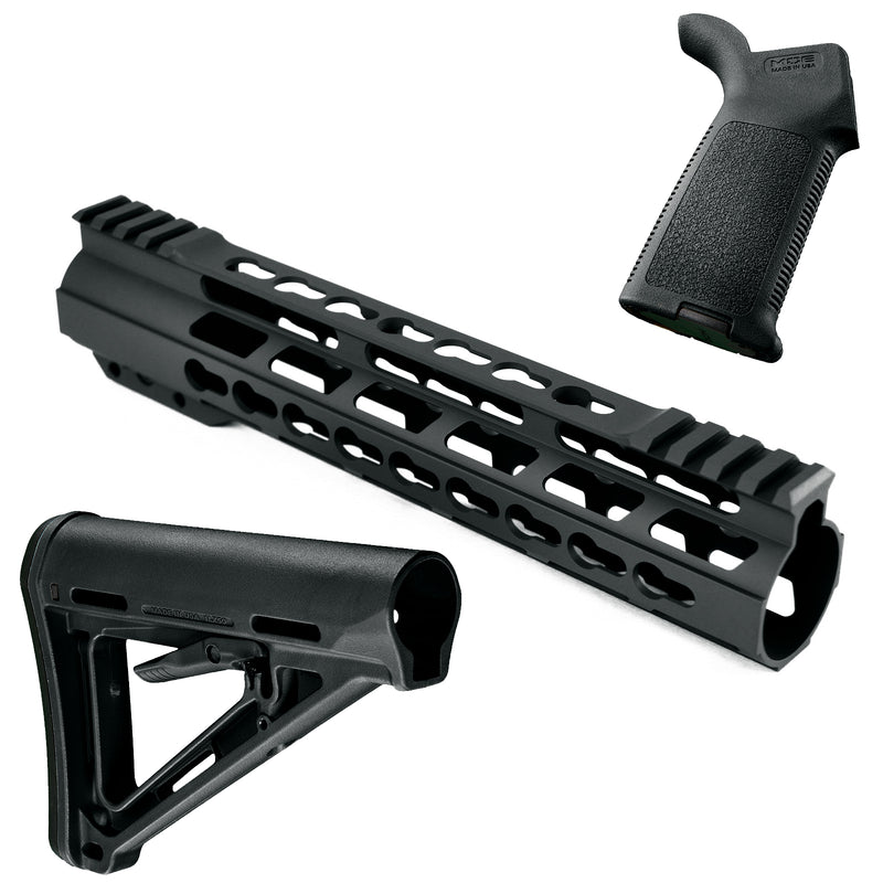 Gray AT3 PROMOD-K Furniture Kit - AT3 KeyMod Handguard, Magpul Stock & Grip
